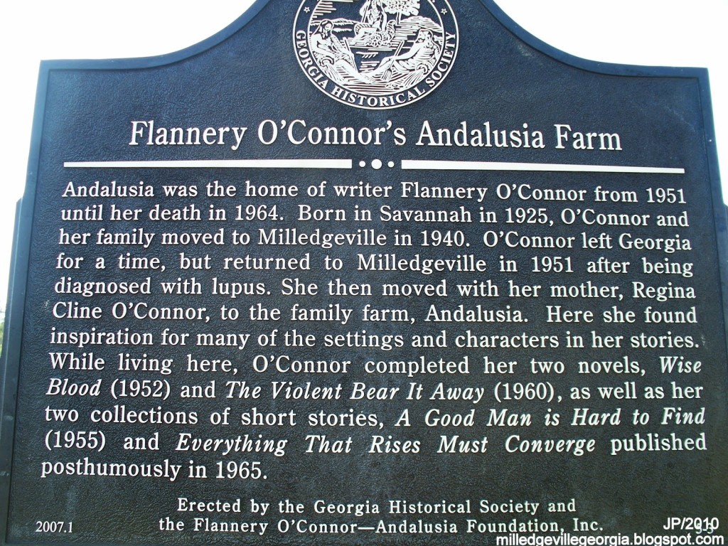 ANDALUSIA+FARM,+Home+of+book+writer+Flannery+O'Conner+History+Marker,+Milledgeville+Georgia,+Baldwin+County+GA.+Andalusia+Farm+Museum